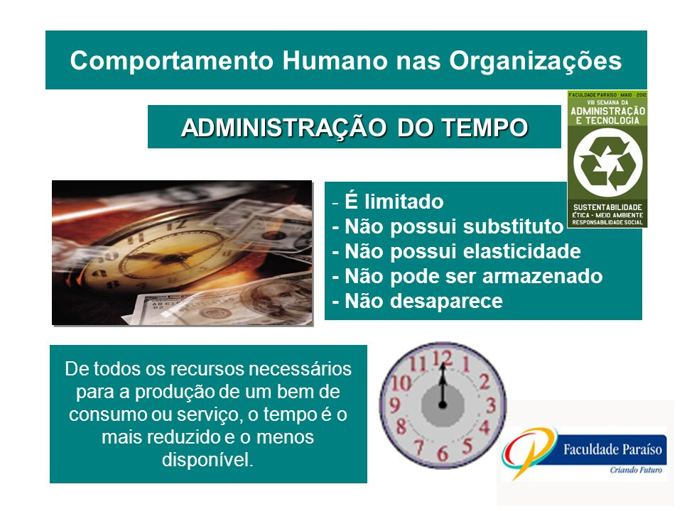 Comportamento Humano nas Organizações ADMINISTRAÇÃO DO TEMPO