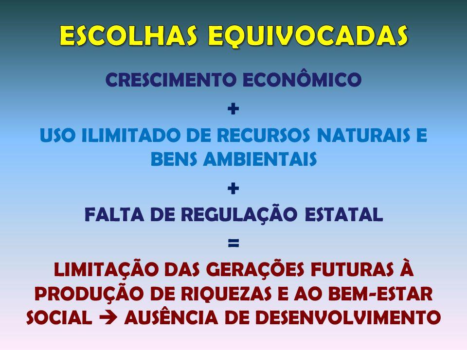 ESCOLHAS EQUIVOCADAS + = CRESCIMENTO ECONÔMICO
