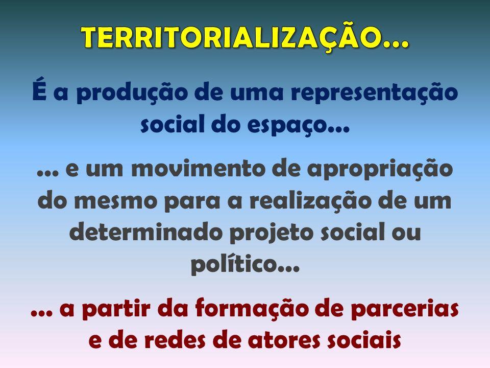 TERRITORIALIZAÇÃO... É a produção de uma representação social do espaço...