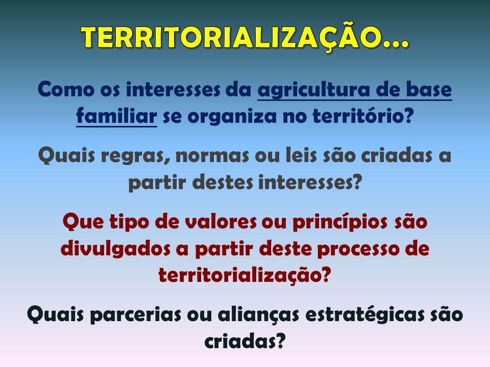 TERRITORIALIZAÇÃO... Como os interesses da agricultura de base familiar se organiza no território