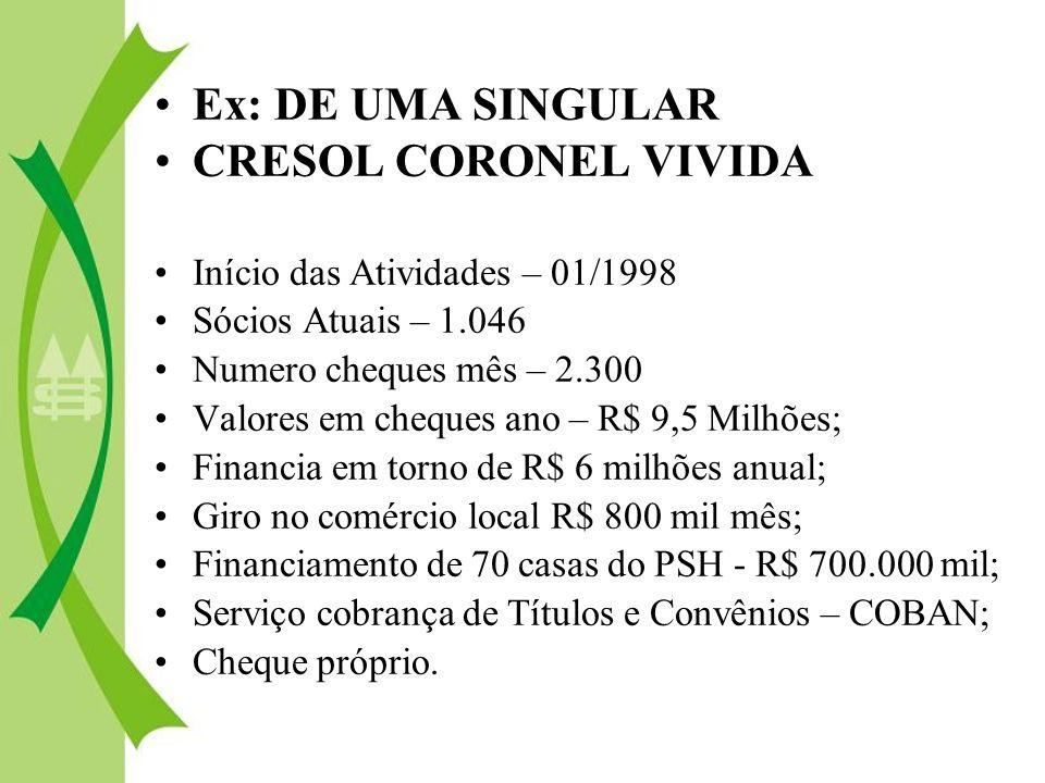 Ex: DE UMA SINGULAR CRESOL CORONEL VIVIDA