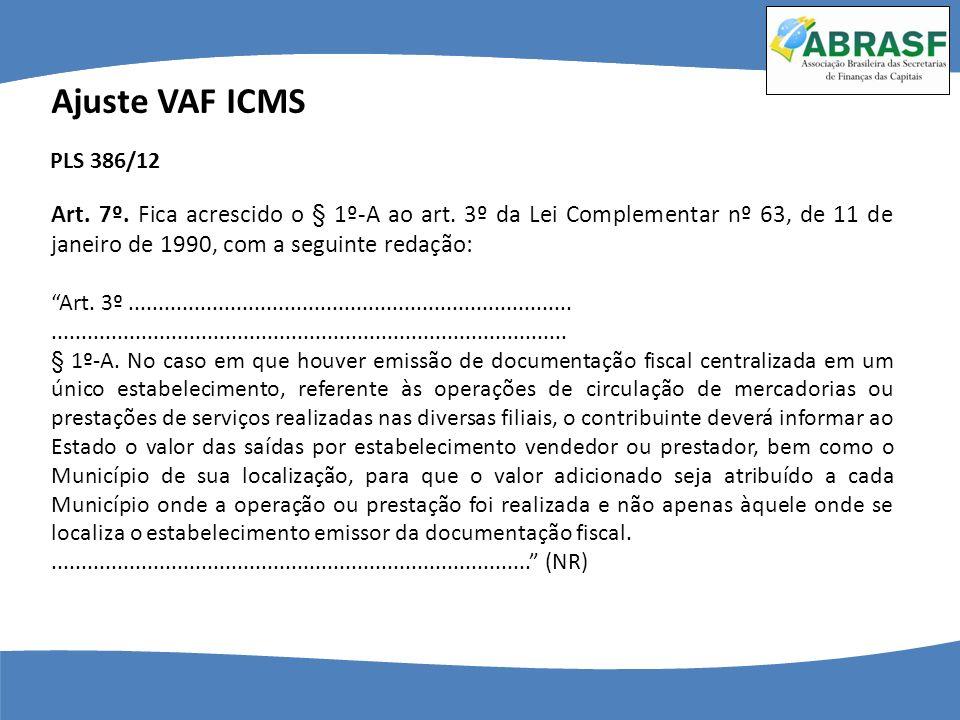 Ajuste VAF ICMS PLS 386/12. Art. 7º. Fica acrescido o § 1º-A ao art. 3º da Lei Complementar nº 63, de 11 de janeiro de 1990, com a seguinte redação: