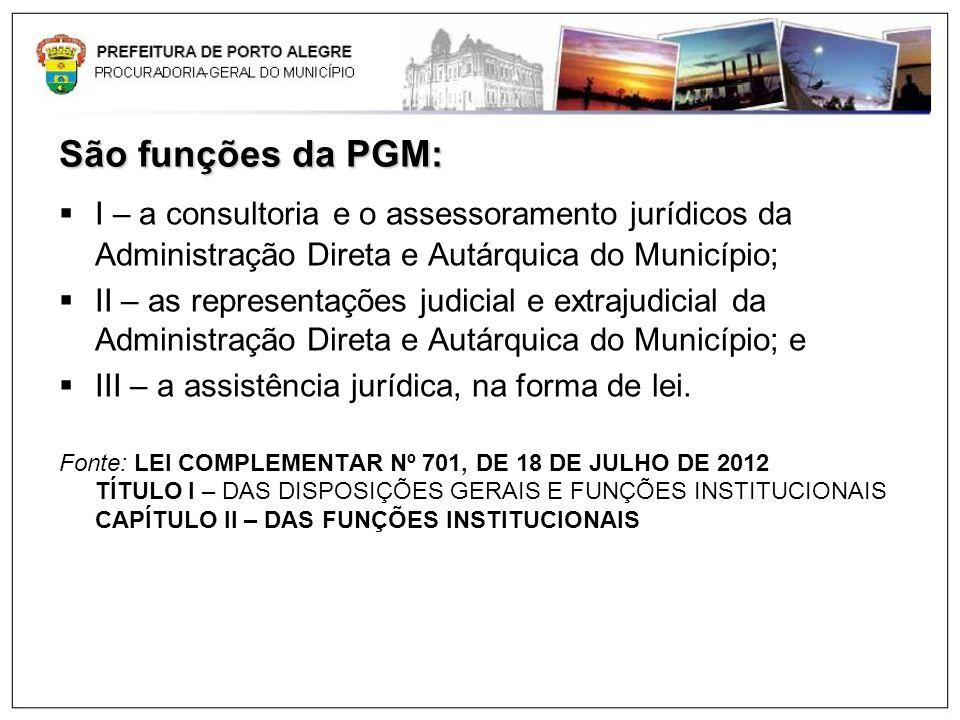 São funções da PGM: I – a consultoria e o assessoramento jurídicos da Administração Direta e Autárquica do Município;