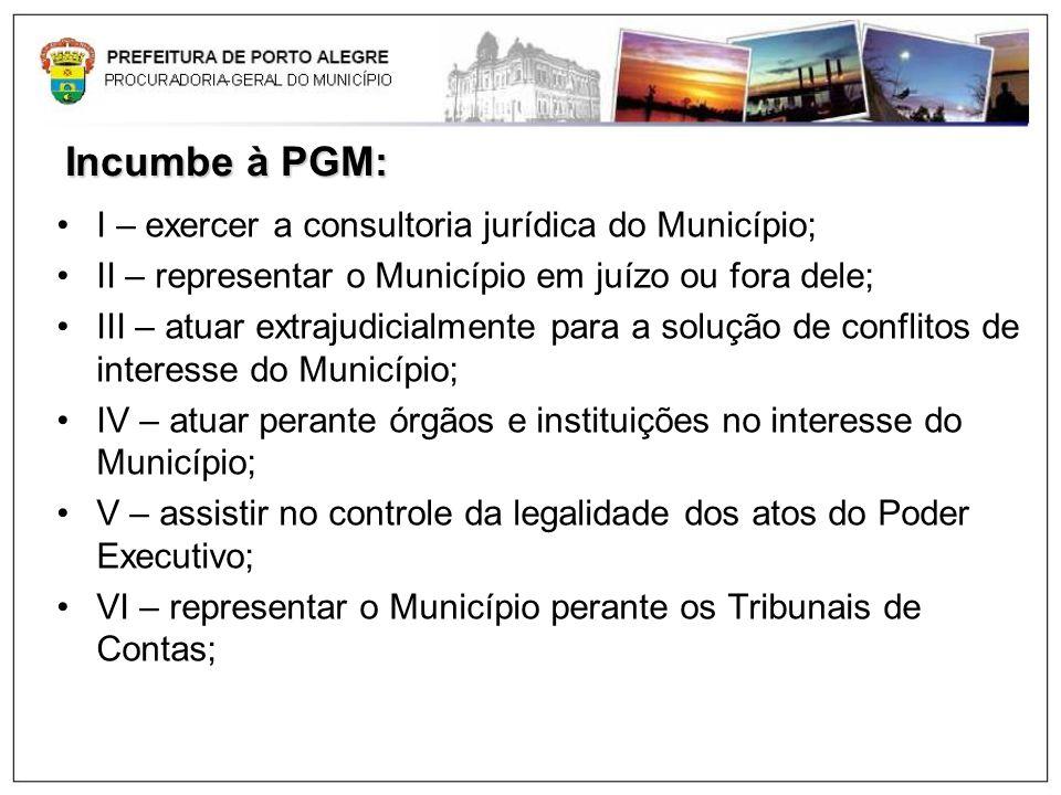 Incumbe à PGM: I – exercer a consultoria jurídica do Município;