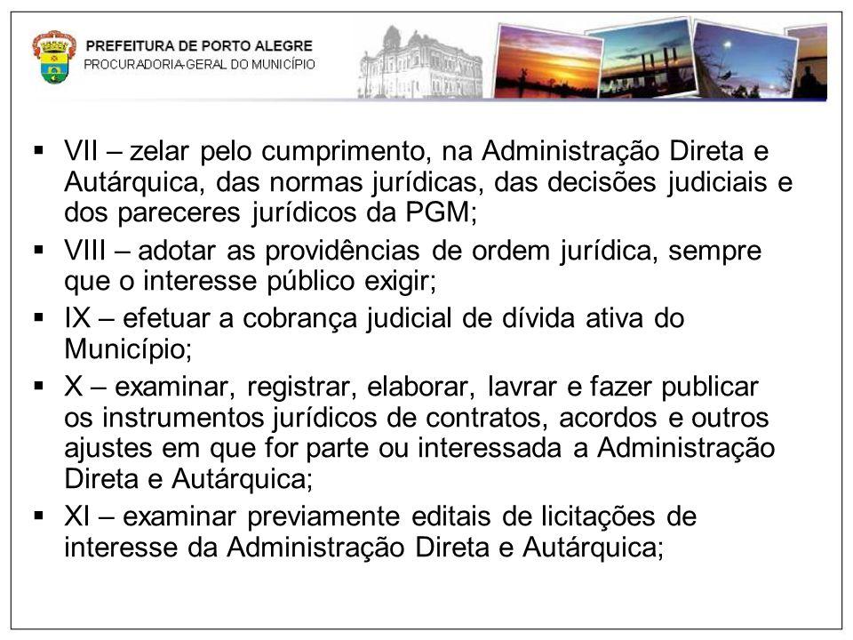 VII – zelar pelo cumprimento, na Administração Direta e Autárquica, das normas jurídicas, das decisões judiciais e dos pareceres jurídicos da PGM;