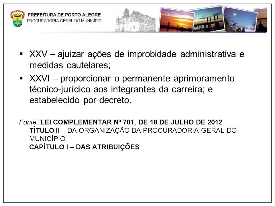 XXV – ajuizar ações de improbidade administrativa e medidas cautelares;