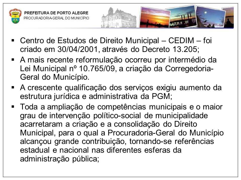 Centro de Estudos de Direito Municipal – CEDIM – foi criado em 30/04/2001, através do Decreto 13.205;