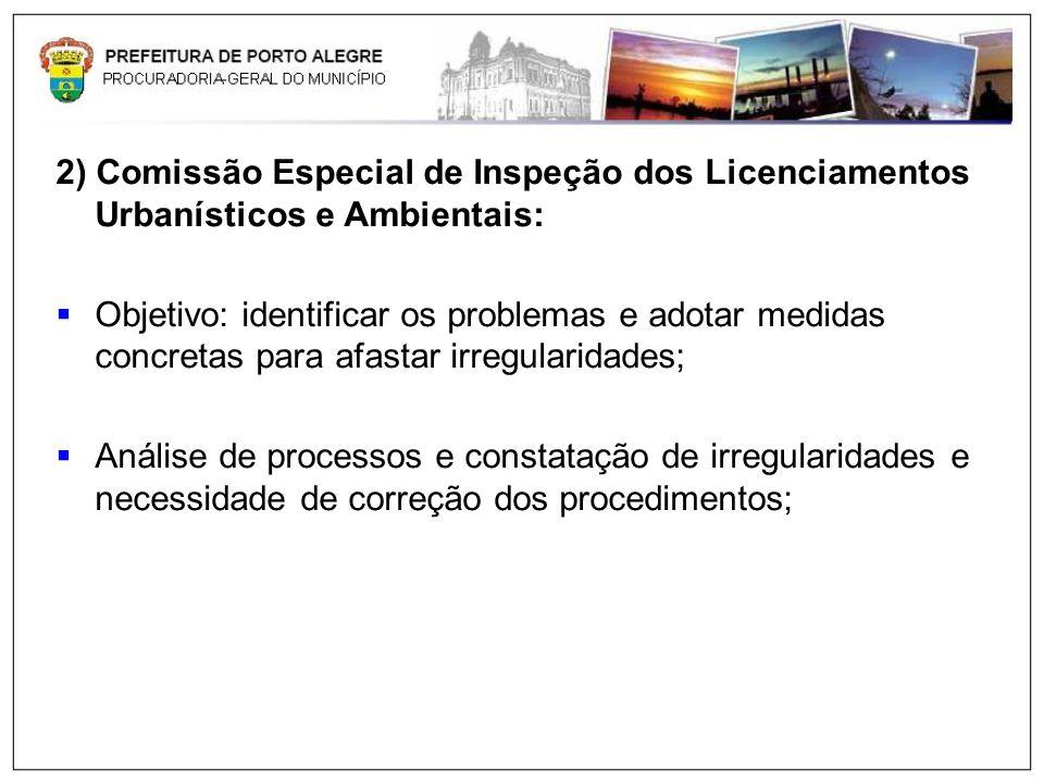 2) Comissão Especial de Inspeção dos Licenciamentos Urbanísticos e Ambientais: