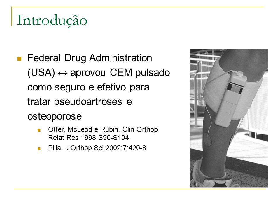 Introdução Federal Drug Administration (USA) ↔ aprovou CEM pulsado como seguro e efetivo para tratar pseudoartroses e osteoporose.