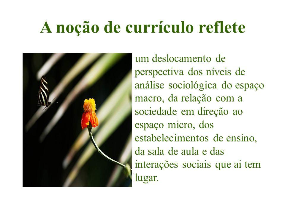 A noção de currículo reflete