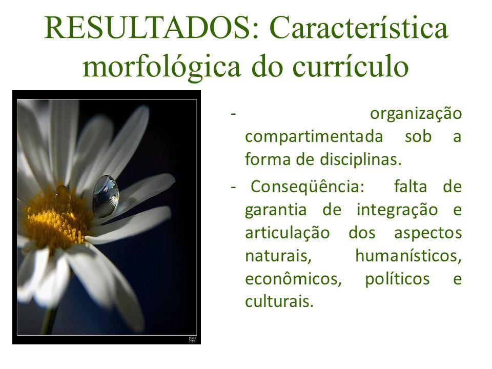 RESULTADOS: Característica morfológica do currículo