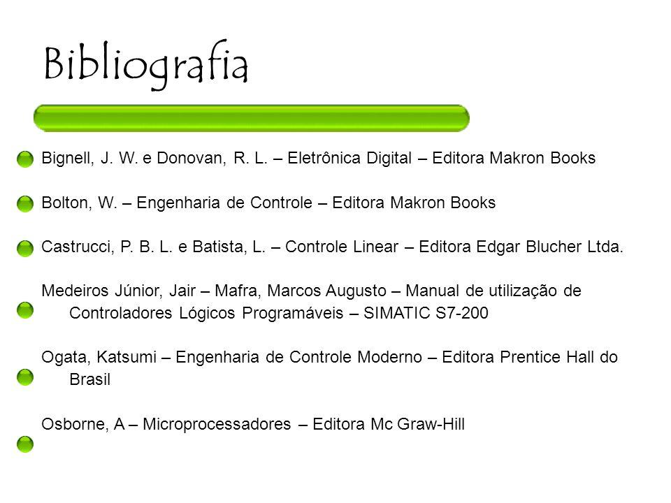 Bibliografia Bignell, J. W. e Donovan, R. L. – Eletrônica Digital – Editora Makron Books. Bolton, W. – Engenharia de Controle – Editora Makron Books.