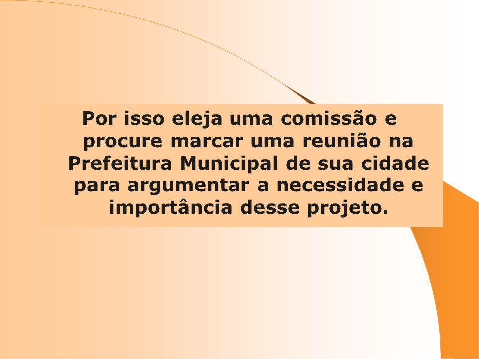 Por isso eleja uma comissão e procure marcar uma reunião na Prefeitura Municipal de sua cidade para argumentar a necessidade e importância desse projeto.