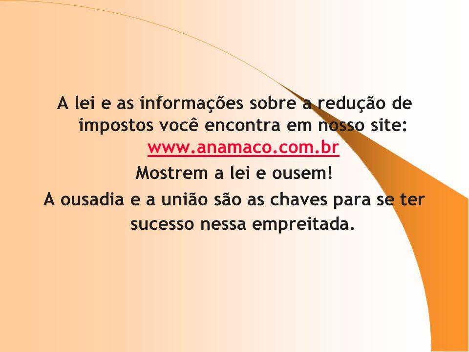 A lei e as informações sobre a redução de impostos você encontra em nosso site: www.anamaco.com.br