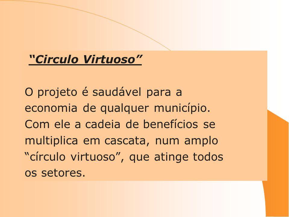 Circulo Virtuoso O projeto é saudável para a. economia de qualquer município. Com ele a cadeia de benefícios se.