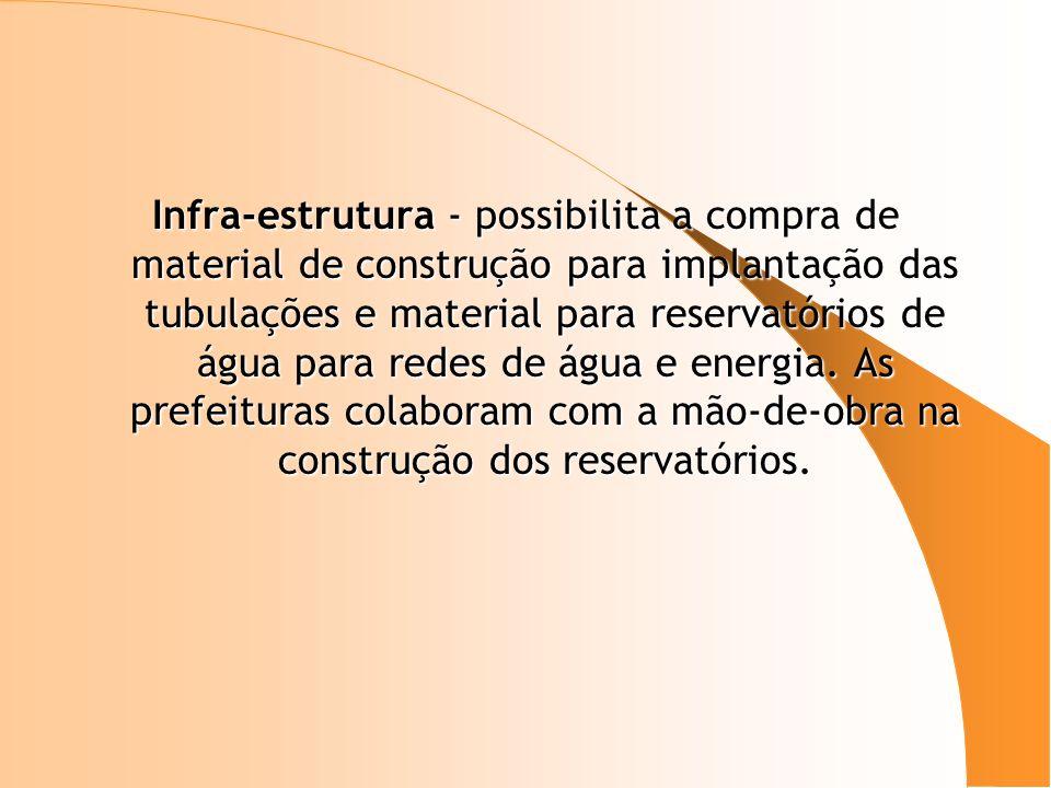 Infra-estrutura - possibilita a compra de material de construção para implantação das tubulações e material para reservatórios de água para redes de água e energia.