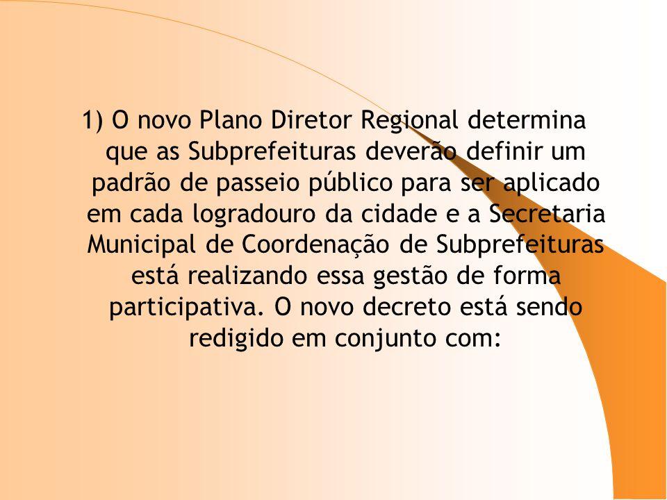 1) O novo Plano Diretor Regional determina que as Subprefeituras deverão definir um padrão de passeio público para ser aplicado em cada logradouro da cidade e a Secretaria Municipal de Coordenação de Subprefeituras está realizando essa gestão de forma participativa.