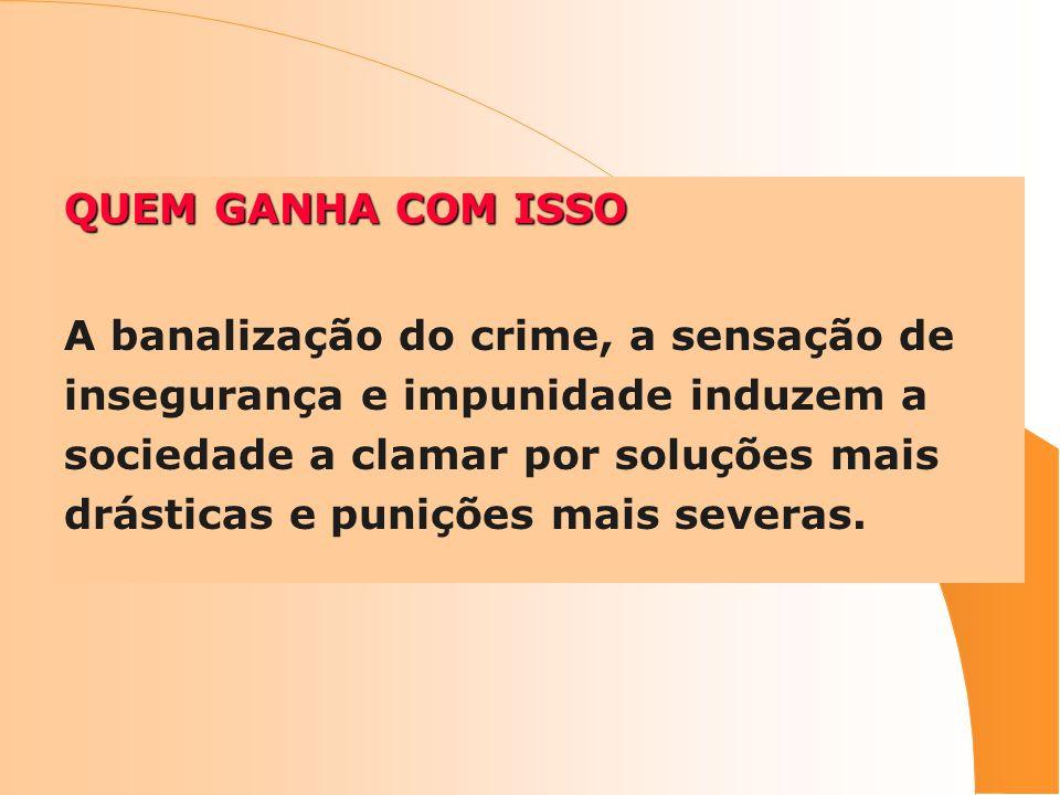 QUEM GANHA COM ISSO A banalização do crime, a sensação de