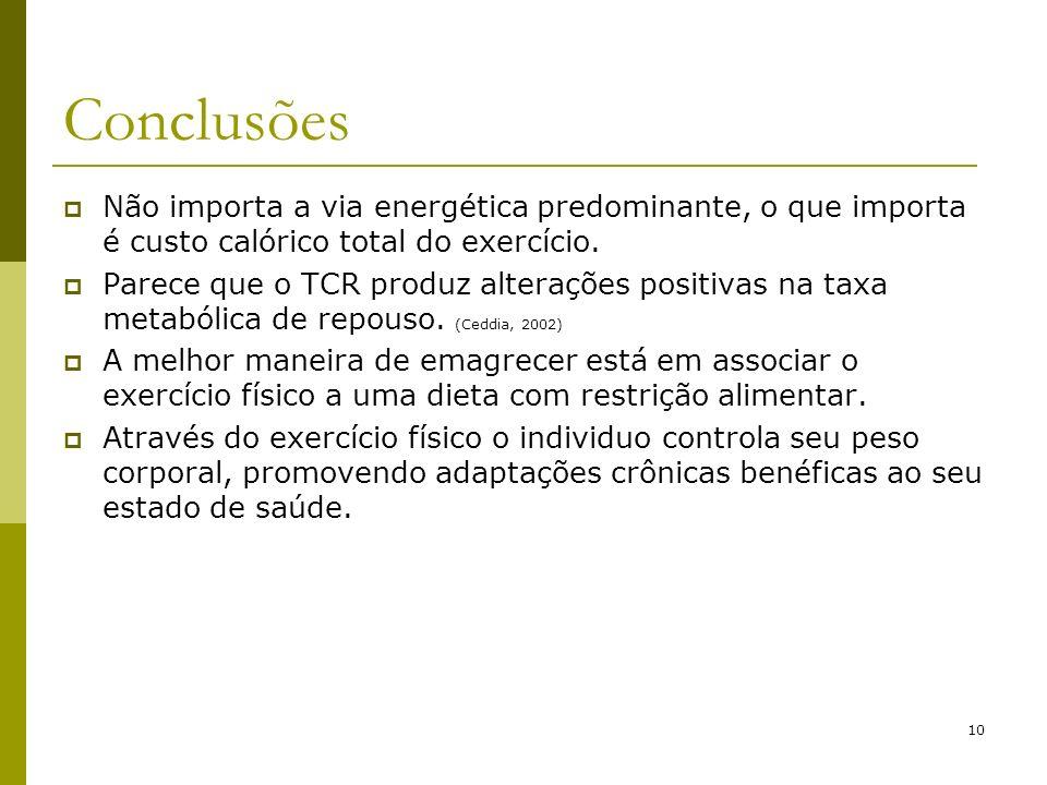 Conclusões Não importa a via energética predominante, o que importa é custo calórico total do exercício.