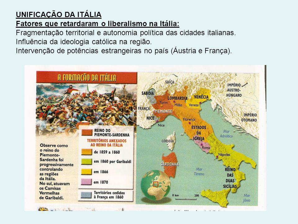 UNIFICAÇÃO DA ITÁLIA Fatores que retardaram o liberalismo na Itália: Fragmentação territorial e autonomia política das cidades italianas.