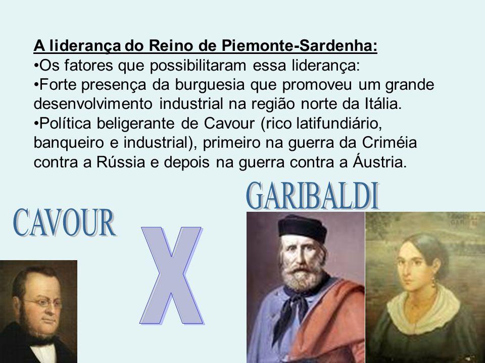 GARIBALDI CAVOUR X A liderança do Reino de Piemonte-Sardenha: