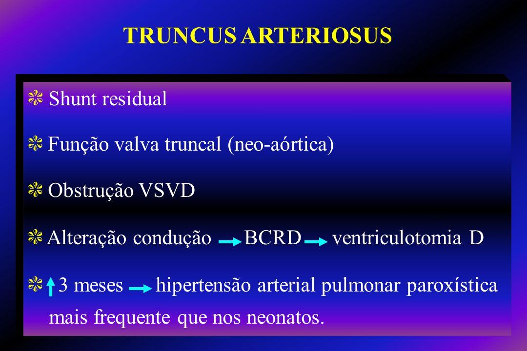 TRUNCUS ARTERIOSUS Shunt residual Função valva truncal (neo-aórtica)