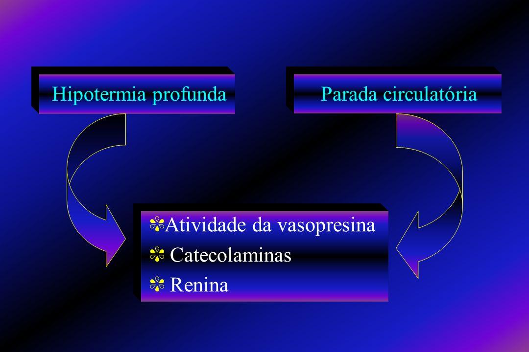 Hipotermia profunda Parada circulatória Atividade da vasopresina Catecolaminas Renina