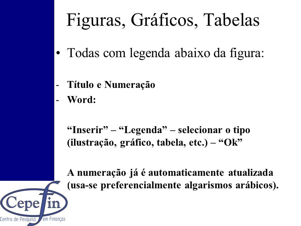 Figuras, Gráficos, Tabelas