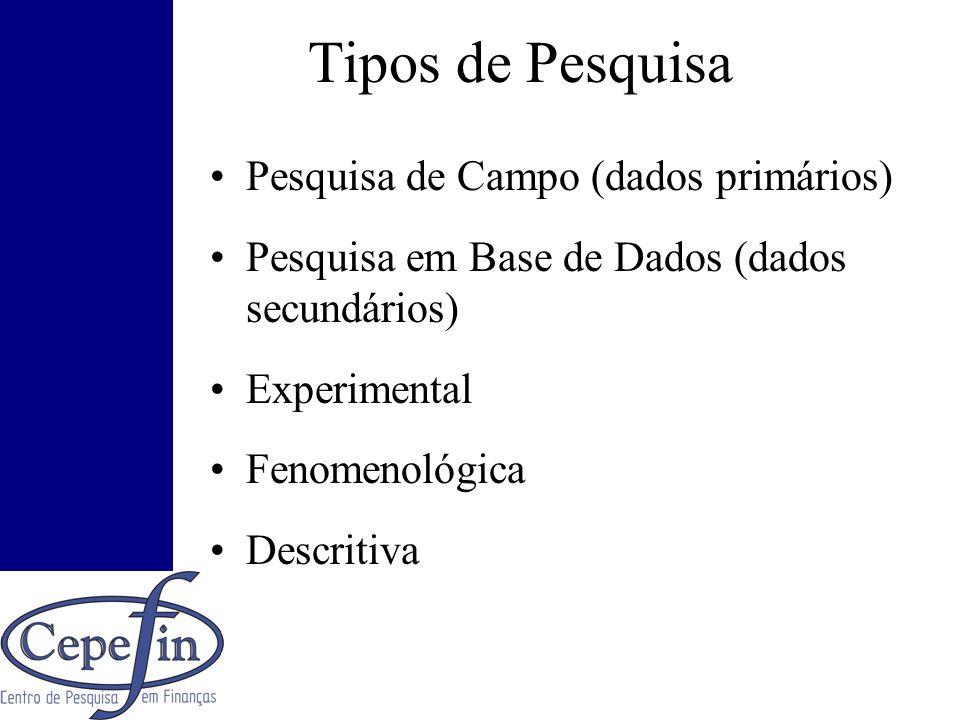 Tipos de Pesquisa Pesquisa de Campo (dados primários)