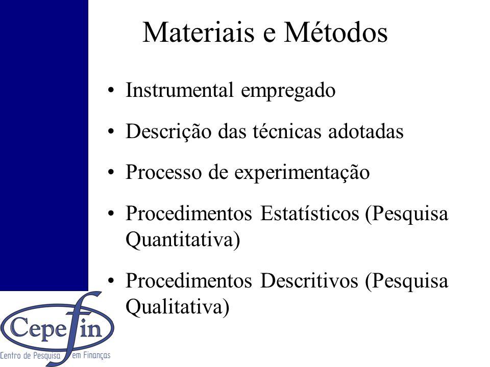 Materiais e Métodos Instrumental empregado