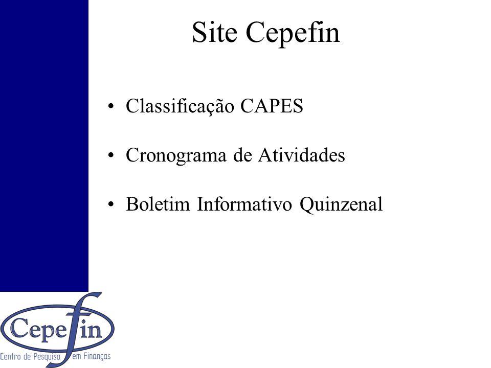 Site Cepefin Classificação CAPES Cronograma de Atividades