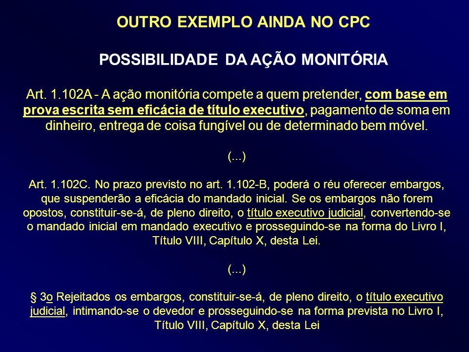 OUTRO EXEMPLO AINDA NO CPC POSSIBILIDADE DA AÇÃO MONITÓRIA
