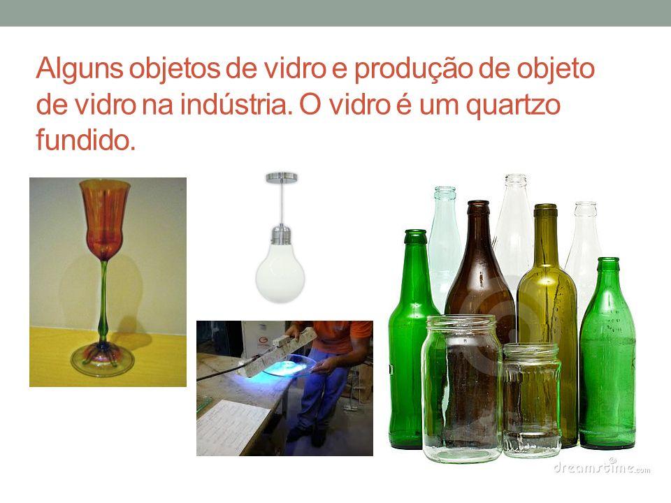 Alguns objetos de vidro e produção de objeto de vidro na indústria