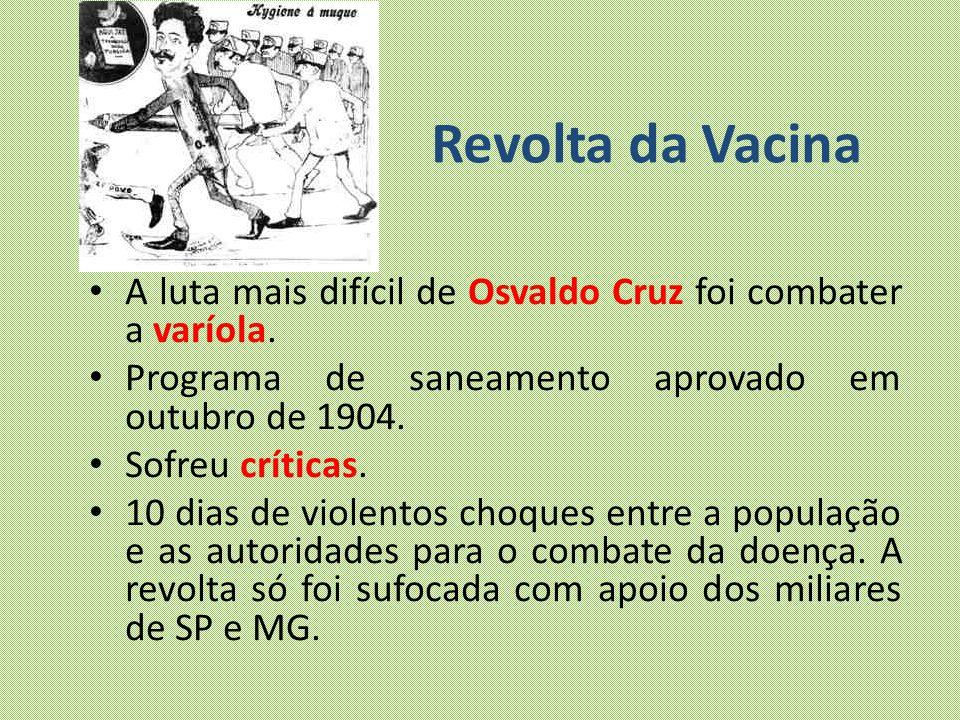 Revolta da Vacina A luta mais difícil de Osvaldo Cruz foi combater a varíola. Programa de saneamento aprovado em outubro de 1904.