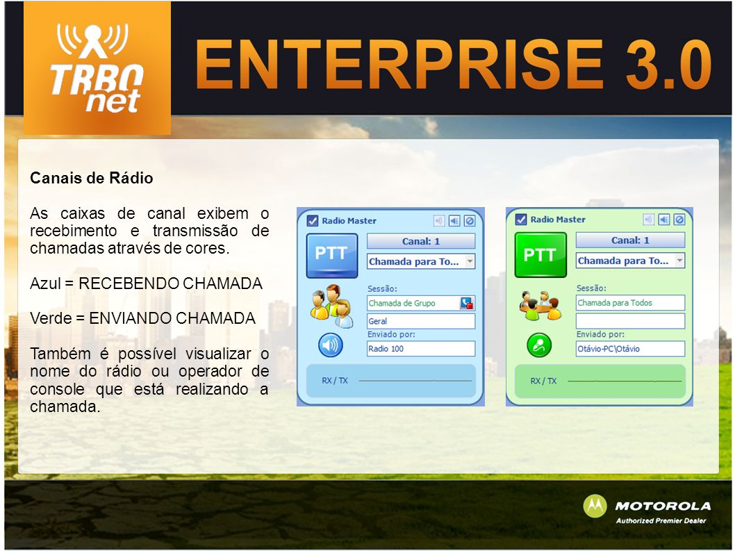 Canais de Rádio As caixas de canal exibem o recebimento e transmissão de chamadas através de cores.
