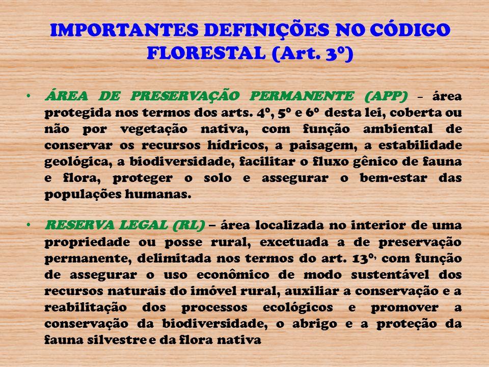 IMPORTANTES DEFINIÇÕES NO CÓDIGO FLORESTAL (Art. 30)