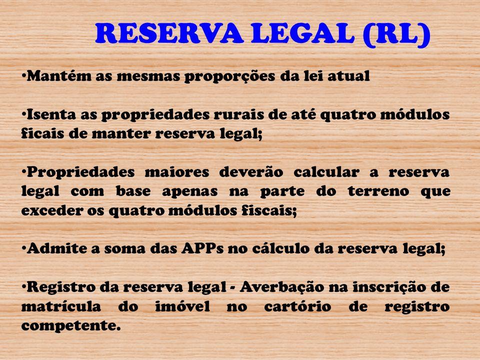 RESERVA LEGAL (RL) Mantém as mesmas proporções da lei atual
