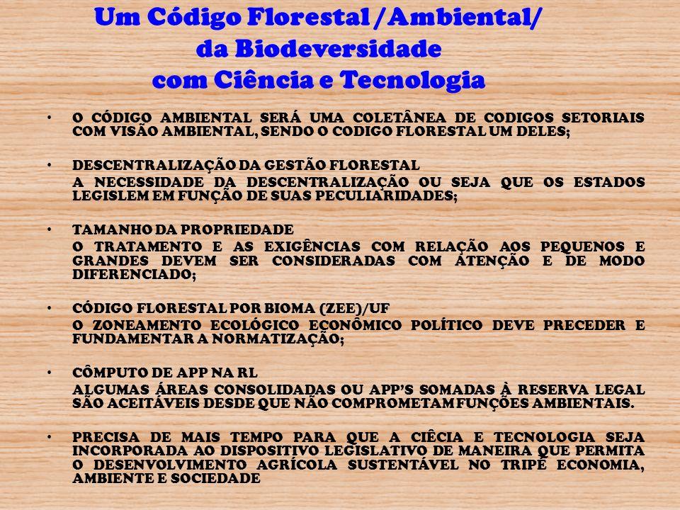 Um Código Florestal /Ambiental/ da Biodeversidade com Ciência e Tecnologia
