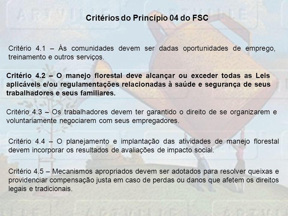 Critérios do Princípio 04 do FSC