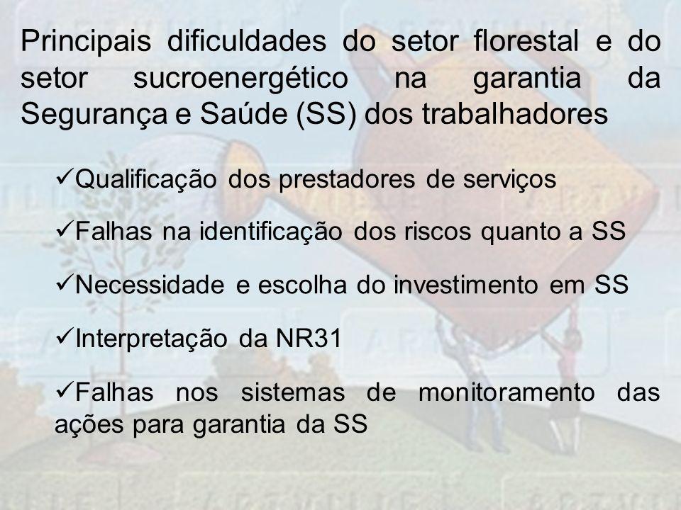 Principais dificuldades do setor florestal e do setor sucroenergético na garantia da Segurança e Saúde (SS) dos trabalhadores