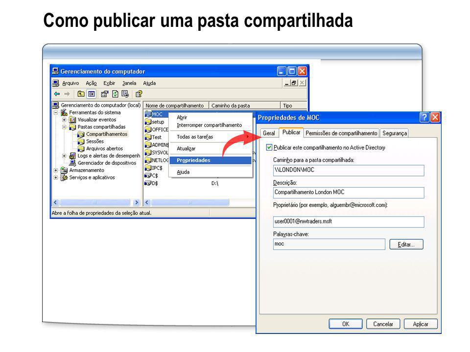 Como publicar uma pasta compartilhada