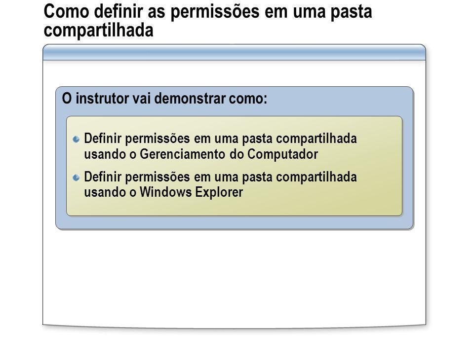Como definir as permissões em uma pasta compartilhada