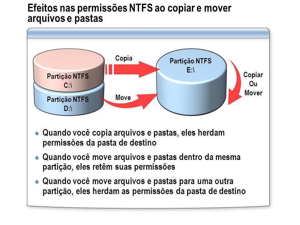 Efeitos nas permissões NTFS ao copiar e mover arquivos e pastas