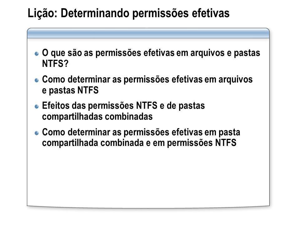 Lição: Determinando permissões efetivas