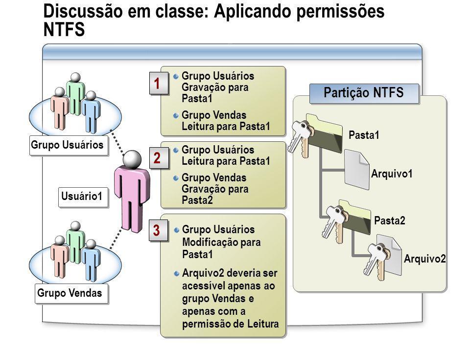 Discussão em classe: Aplicando permissões NTFS