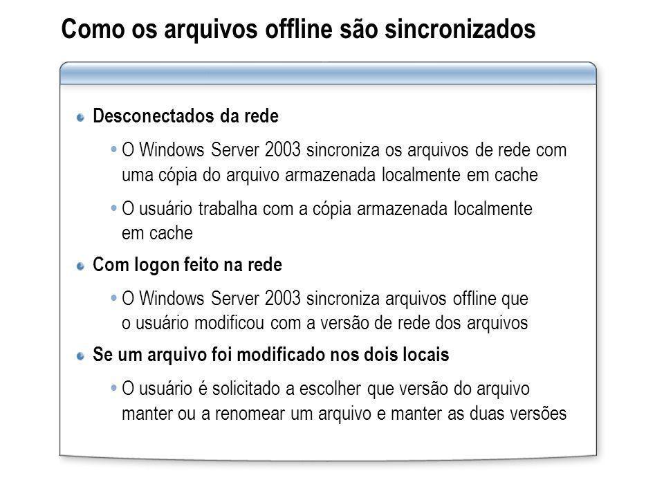 Como os arquivos offline são sincronizados