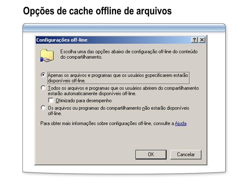 Opções de cache offline de arquivos