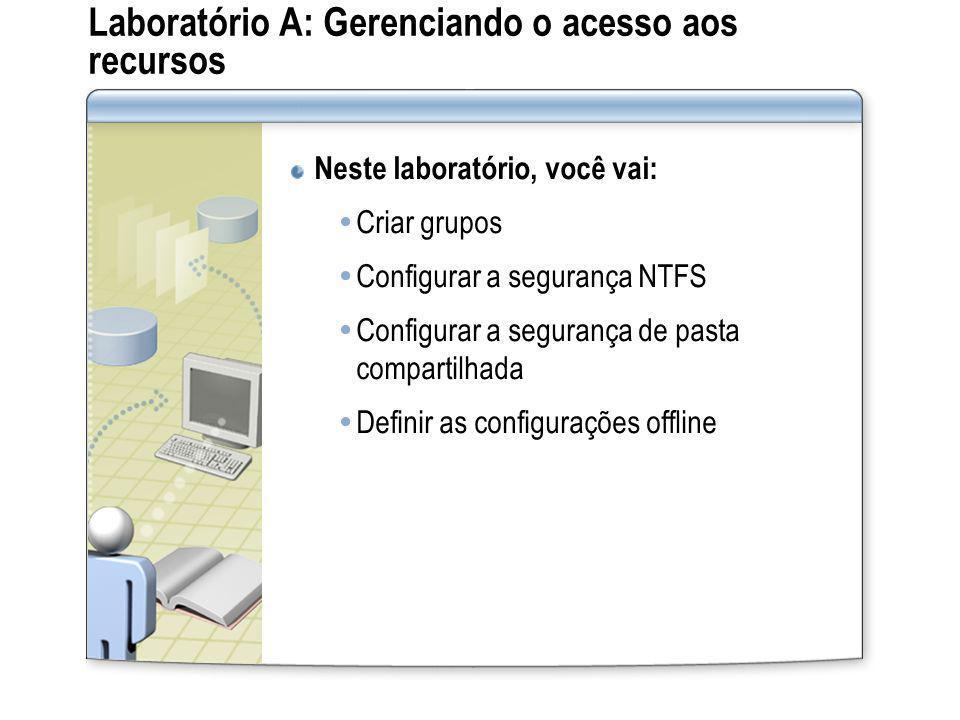Laboratório A: Gerenciando o acesso aos recursos