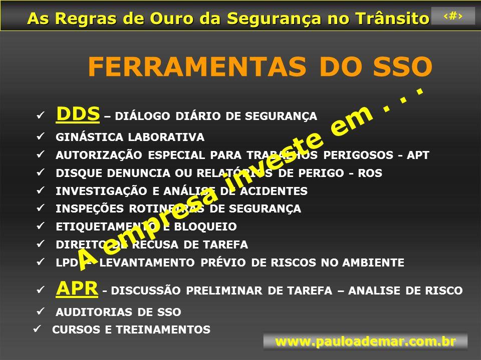 FERRAMENTAS DO SSO  DDS – DIÁLOGO DIÁRIO DE SEGURANÇA  GINÁSTICA LABORATIVA  AUTORIZAÇÃO ESPECIAL PARA TRABALHOS PERIGOSOS - APT  DISQUE DENUNCIA OU RELATÓRIOS DE PERIGO - ROS  INVESTIGAÇÃO E ANÁLISE DE ACIDENTES  INSPEÇÕES ROTINEIRAS DE SEGURANÇA  ETIQUETAMENTO E BLOQUEIO  DIREITO DE RECUSA DE TAREFA  LPD - LEVANTAMENTO PRÉVIO DE RISCOS NO AMBIENTE  APR - DISCUSSÃO PRELIMINAR DE TAREFA – ANALISE DE RISCO  AUDITORIAS DE SSO  CURSOS E TREINAMENTOS