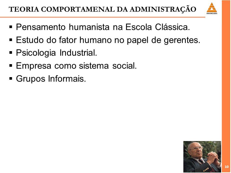 TEORIA COMPORTAMENAL DA ADMINISTRAÇÃO